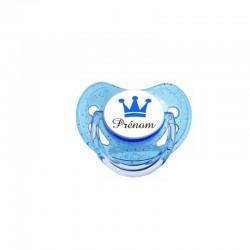 Tétine couronne bleu garçon personnalisable prénom