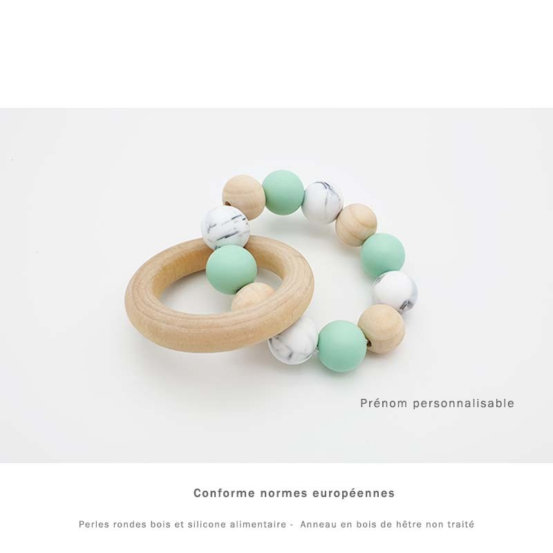 Anneau de dentition avec anneau en bois  et perles de silicone vert personnalisable pour bébé