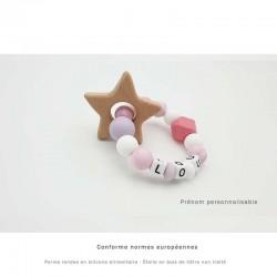 Anneau de dentition silicone étoile rose, violet et blanc personnalisable au prénom de l'enfant.