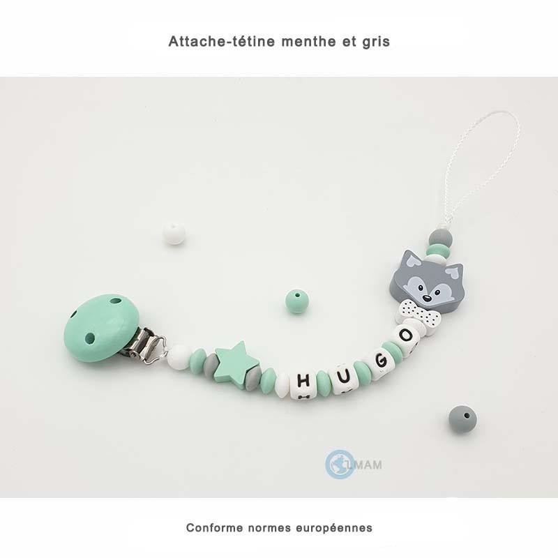 Attache-tétine vert et gris en silicone et bois personnalisable pour bébés