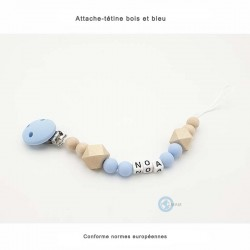 Attache-tétine bleu et bois en silicone,bois personnalisable pour bébés