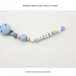 Attache-tétine bleu, bois en silicone et cœur personnalisable pour bébés