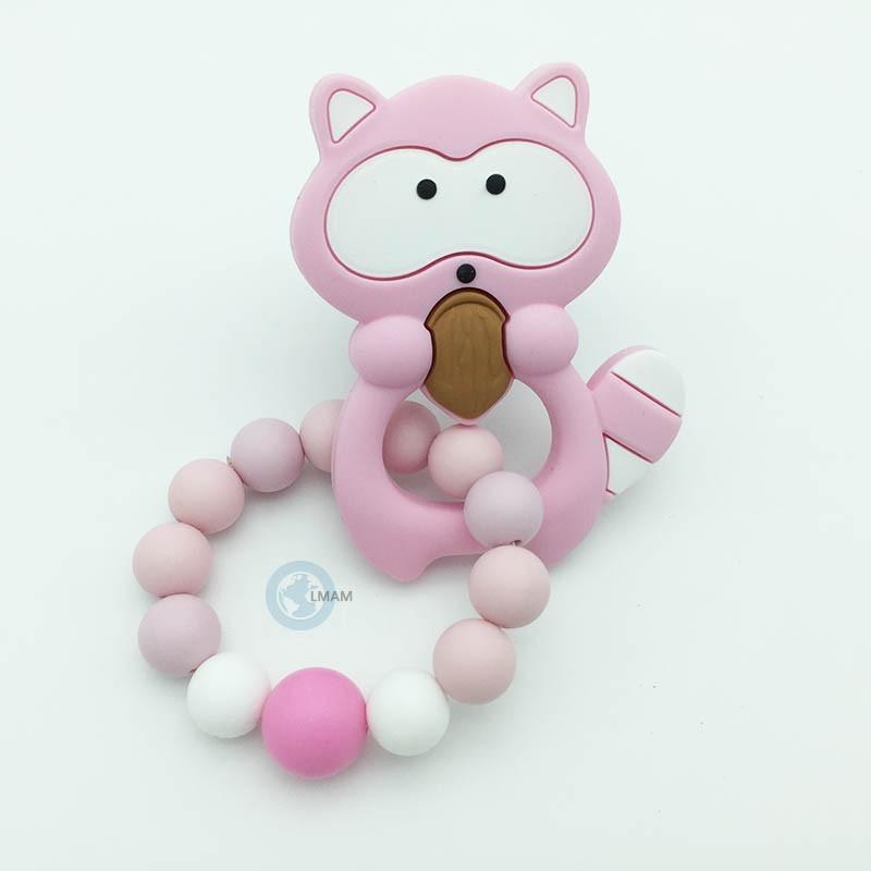 Anneau de dentition silicone rose et blanc personnalisable au prénom de l'enfant.