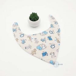 Bavoir bandana gris clair et bleu avec de jolis petits animaux.