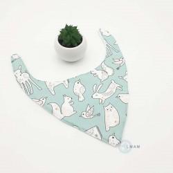 Bavoir bandana vert clair et blanc pour bébés.