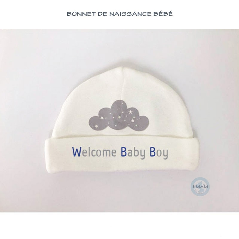 "Bonnet bébé ""Welcome Baby Boy"""