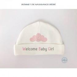 """Bonnet bébé """"Welcome Baby Girl"""""""