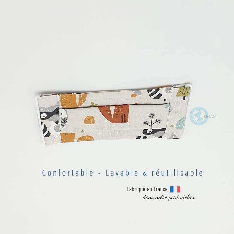 """masque """"barrière"""" en tissu AFNOR raton laveur et renard."""