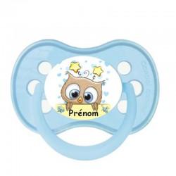Tétine personnalisable bébé hibou bleu et jaune