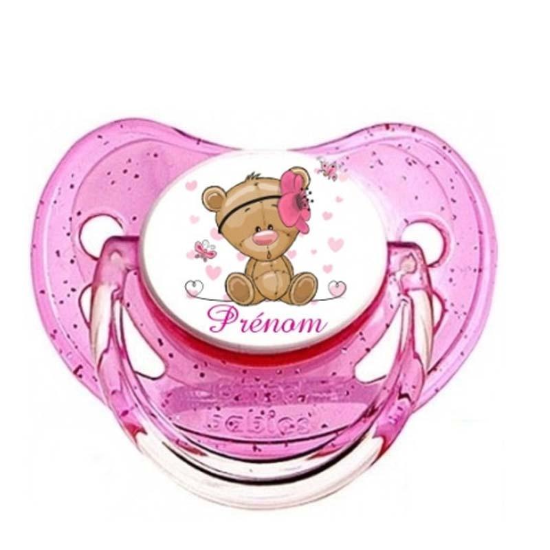 Tétine personnalisable bébé oursonne fleur rose