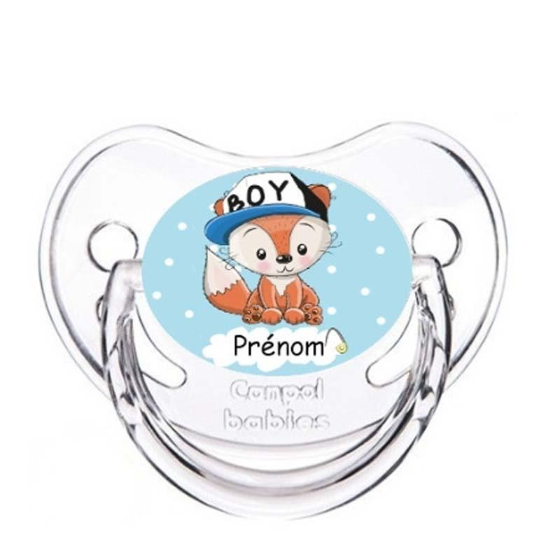 Tétine personnalisable bébé renard casquette