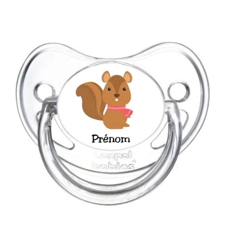 Tétine personnalisable écureuil avec son écharpe
