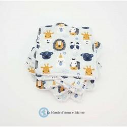 Lingettes lavables bébé lion & forêt 10 x 10 cm