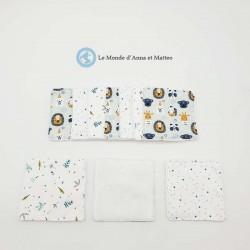 Lingettes lavables lion & feuilles 10 x 10 cm