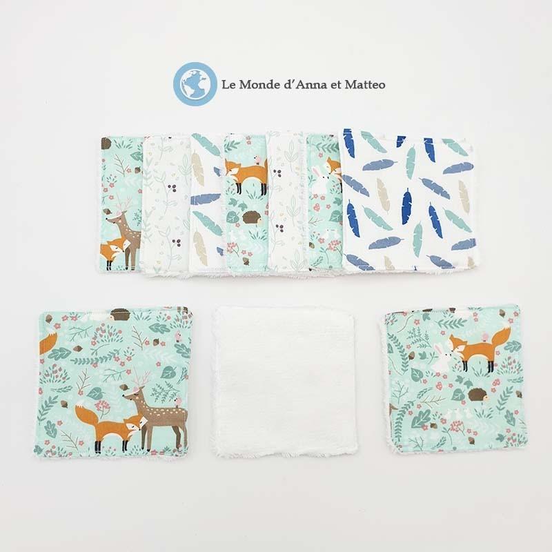 Lingettes lavables bébé nature et forêt - 10 x 10 cm