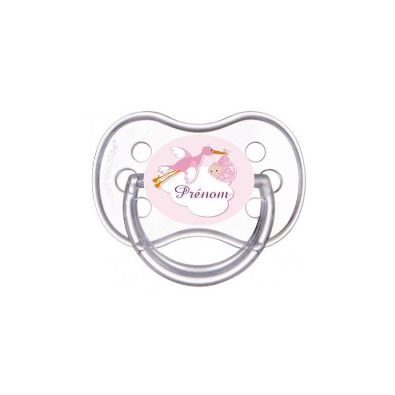 Tétine personnalisable cigogne rose avec bébé