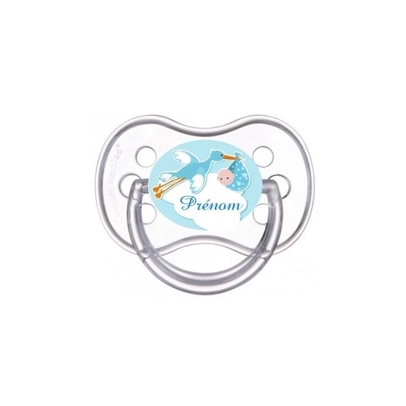 Tétine personnalisable cigogne bleue avec bébé