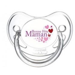 Tétine personnalisable bonne fête maman avec des cœurs roses