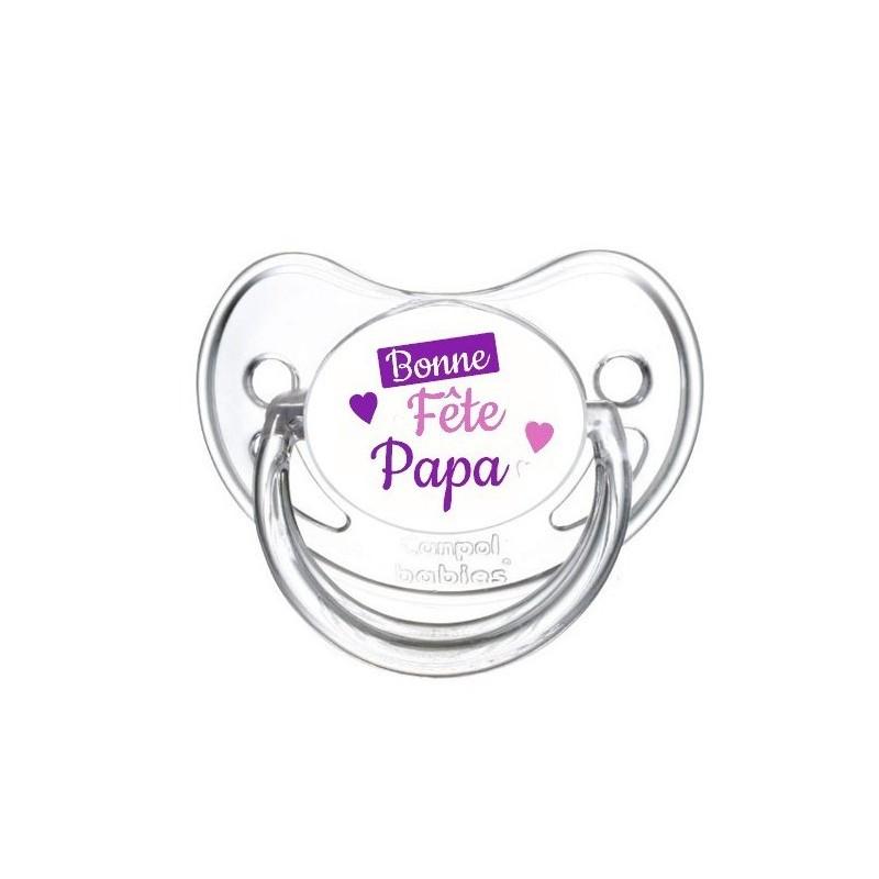 Tétine personnalisable bonne fête papa cœur violet