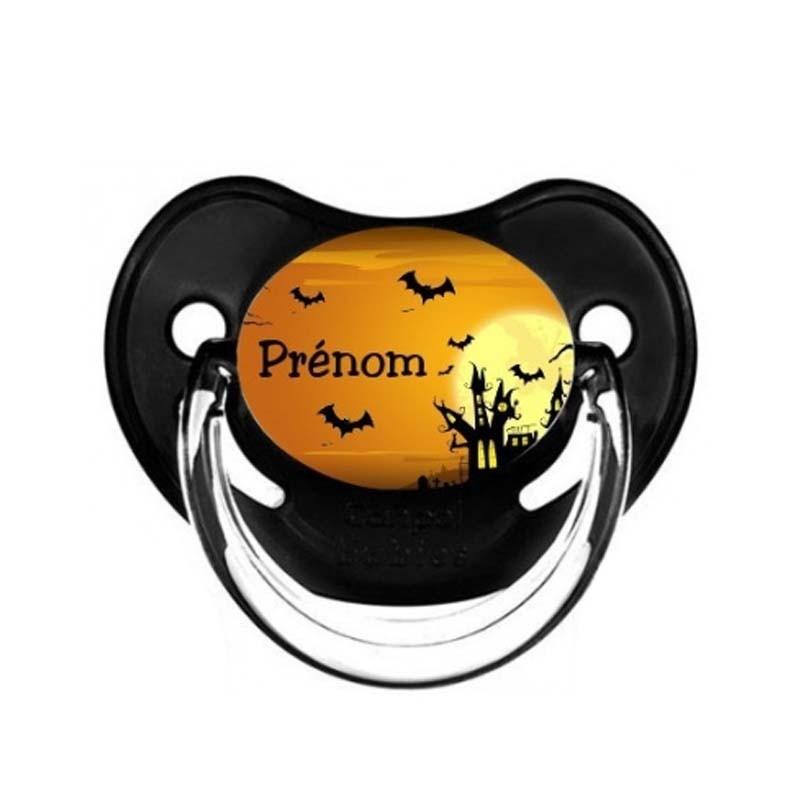 Tétine personnalisable bébé château et chauve-souris Halloween