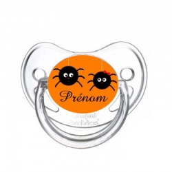 Tétine personnalisable duo araignées pour Halloween