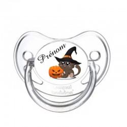 Tétine personnalisable chat citrouille halloween