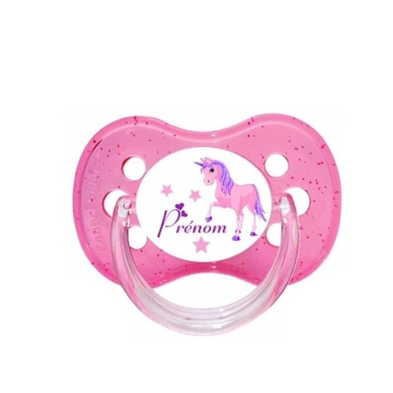 Tétine personnalisée pour bébé au prénom de l'enfant licorne & étoiles
