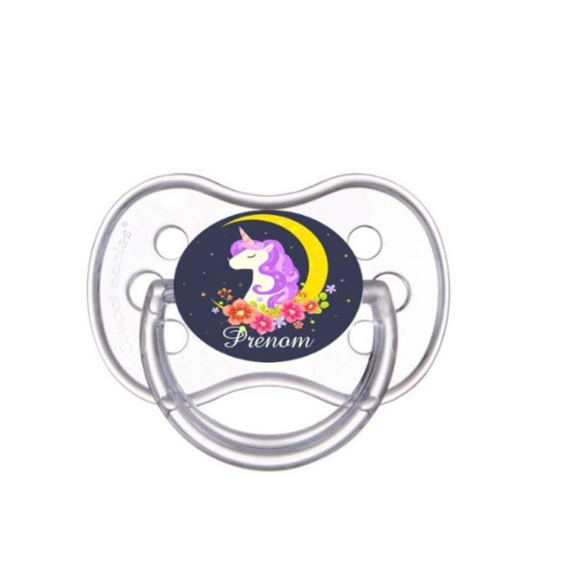 Tétine personnalisée pour bébé au prénom de l'enfant licorne pailletée