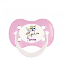 Tétine personnalisée pour bébé au prénom de l'enfant licorne ailée