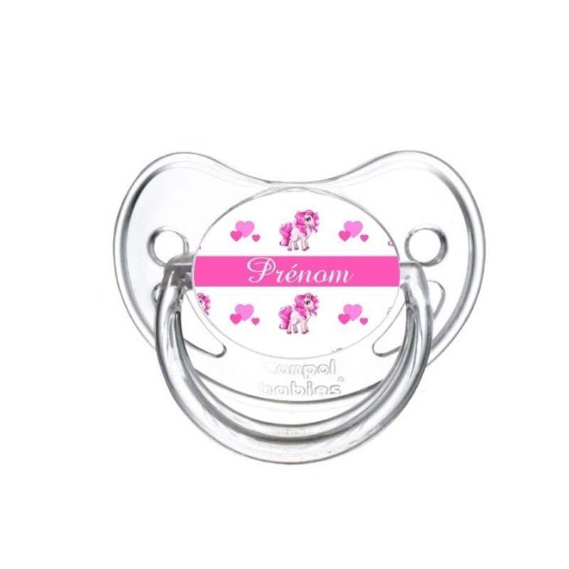 Tétine personnalisée pour bébé au prénom de l'enfant licorne & cœur
