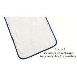 Lot de deux serviettes de rechange pour nos tapis à langer nomade pour bébés.