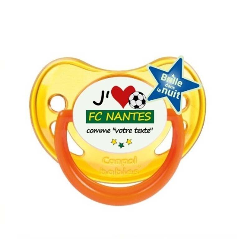"""Tétine personnalisée pour bébé au prénom de l'enfant """"J'aime FC Nantes comme..."""""""