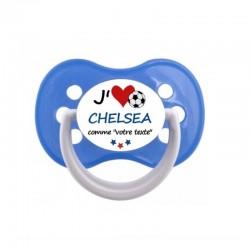 """Tétine personnalisée pour bébé au prénom de l'enfant """"J'aime Chelsea comme..."""""""
