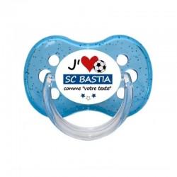 """Tétine personnalisée pour bébé au prénom de l'enfant """"Tétine """"j'aime SC Bastia comme..."""""""