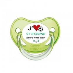 """Tétine personnalisée pour bébé au prénom de l'enfant """"Tétine """"j'aime St Étienne comme..."""""""