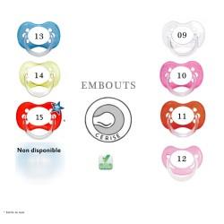 Choix couleurs tétines embouts ovales (cerises)