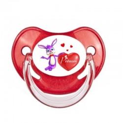 Tétine personnalisée au prénom de l'enfant lapin cœur.