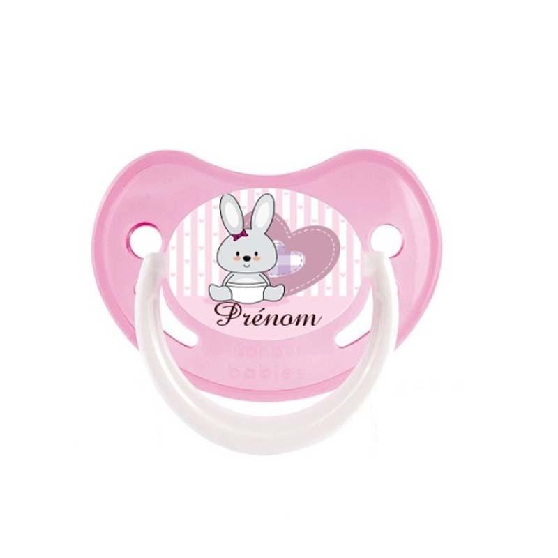 Tétine personnalisée au prénom de l'enfant bébé lapin cœur