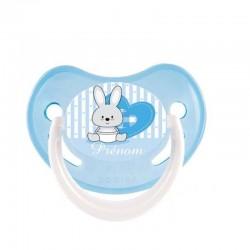 Tétine personnalisée au prénom de l'enfant bébé lapin cœur bleu