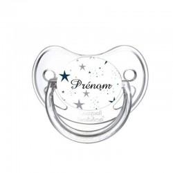 Tétine personnalisée au prénom de l'enfant bébé étoiles grises