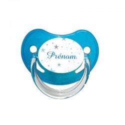 Tétine personnalisée au prénom de l'enfant bébé étoiles bleues