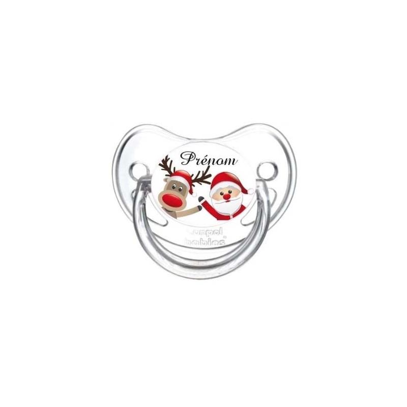 Tétine personnalisée avec prénom de l'enfant - père Noël et renne
