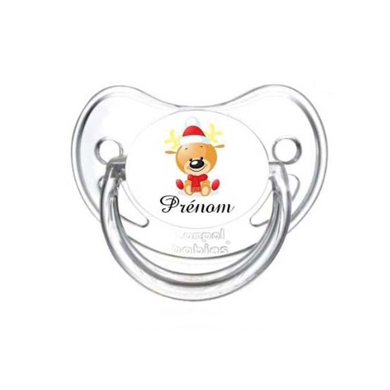 tétine personnalisée avec prénom de l'enfant : Ourson Noël