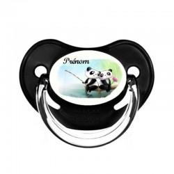 Tétine personnalisable pandas amis faisant une partie de pêche