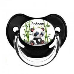 tétine personnalisée panda avec ses lunettes au prénom de l'enfant