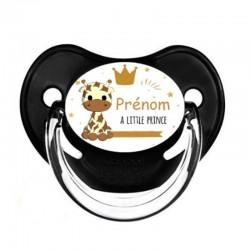 tétine personnalisée bébé girafon avec le prénom de l'enfant