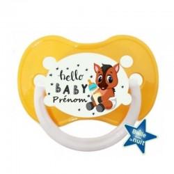 Tétine personnalisée bébé poulain avec le prénom de l'enfant