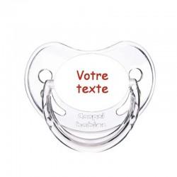 Tétine personnalisée pour bébé au prénom de l'enfant simple et sobre.
