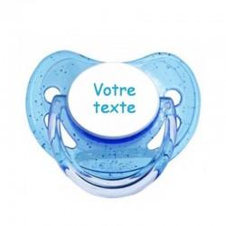 Tétine personnalisable bleu paillettes pour bébé au prénom de l'enfant simple et sobre.