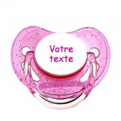 Tétine personnalisable rose paillettes pour bébé au prénom de l'enfant simple et sobre.
